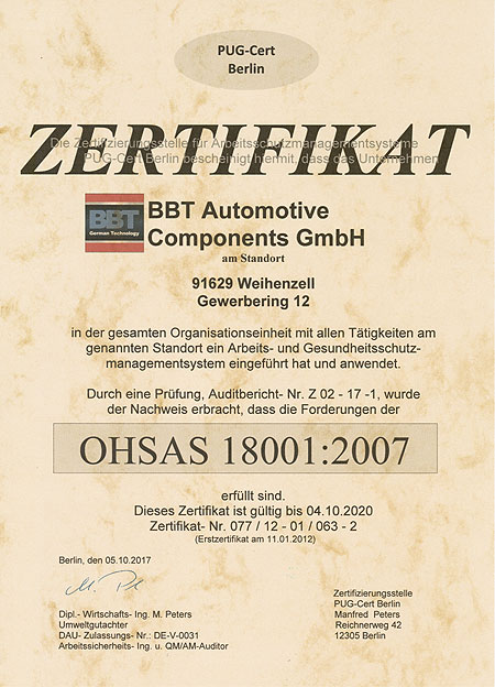 BBT Automotive Components GmbH - OEM parts made in Germany